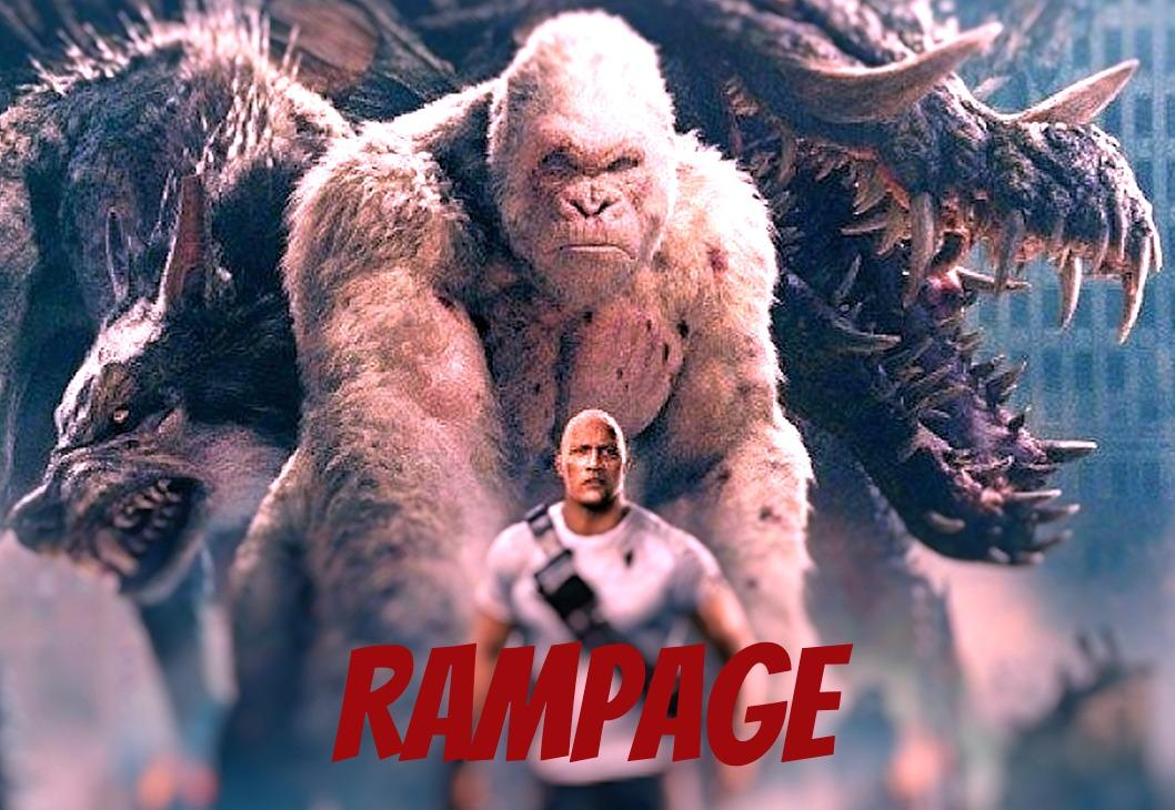 "Promotional image for the film ""Rampage"" featuring a monstrously large wolf, gorilla, and lizard, and a human action hero."