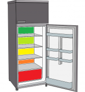 Illustration of a refrigerator with the bottom opened.