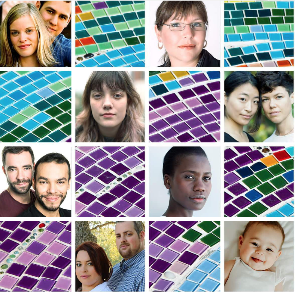 mosaic tiles with diverse faces
