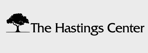 Black and white logo for The Hasting Center featuring the name and a silhouette of a tree