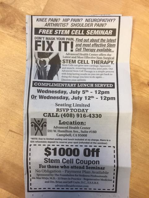 "photo of newspaper ad for stem cell clinic, with ""Fix It!"" headline"
