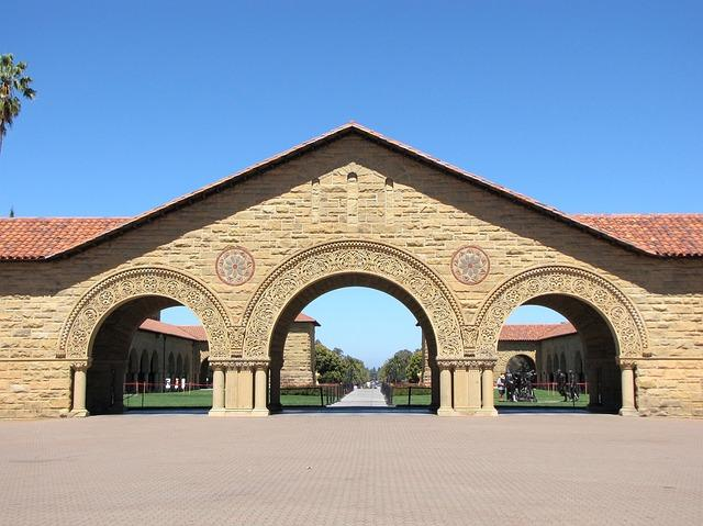 Stanford University campus, and edifice with three archways
