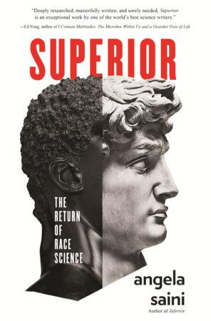 "Book cover for ""Superior"" featuring a statue that is half white, half black"