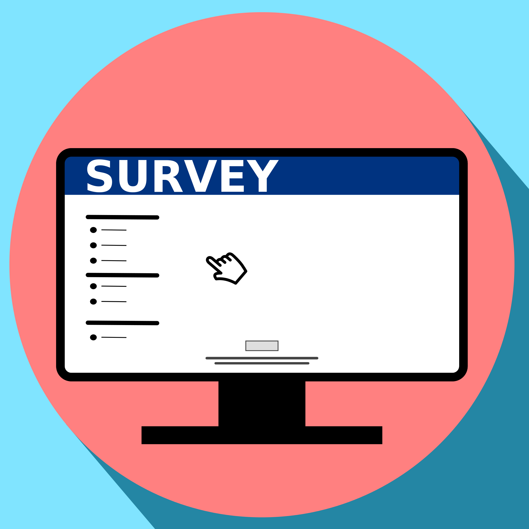 Graphic of survey on computer screen within a solid pink circle within a solid light blue square