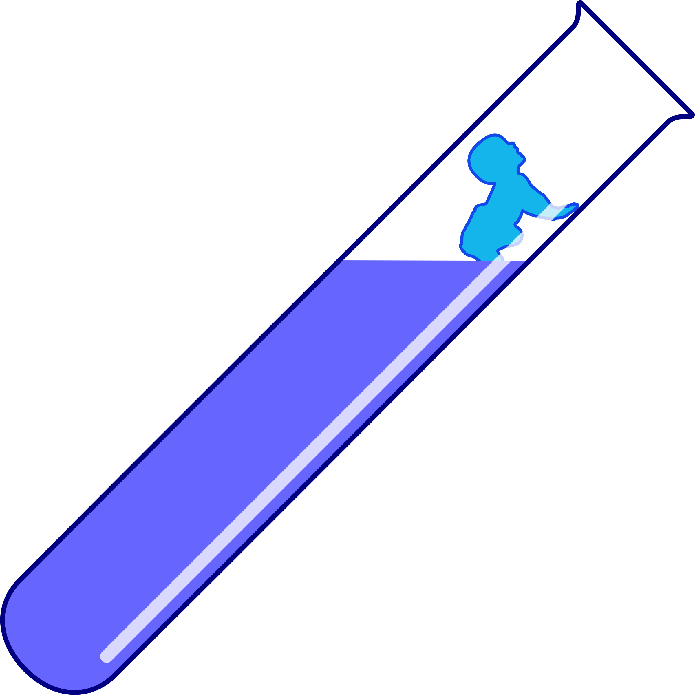 drawing of a test tube, tilted diagonally, with a blue baby crawling out of a purple liquid