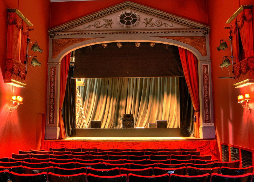 Large, grand red curtain theater