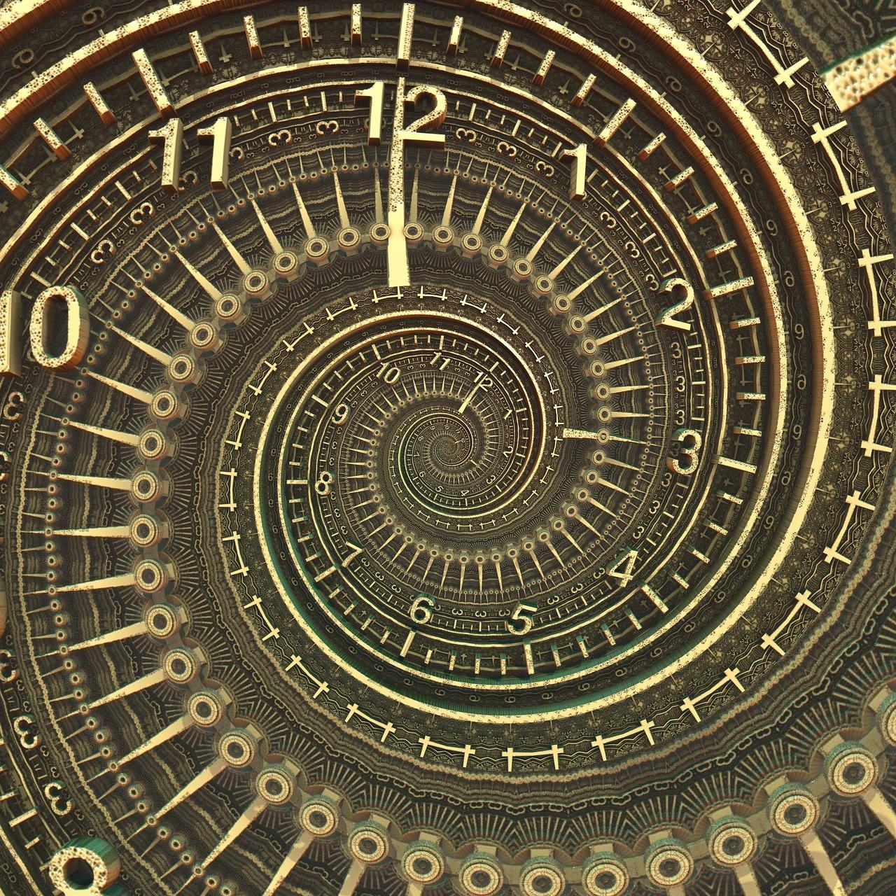Against a black background, golden numbers and tick marks suggesting a clock, spiral into the center.