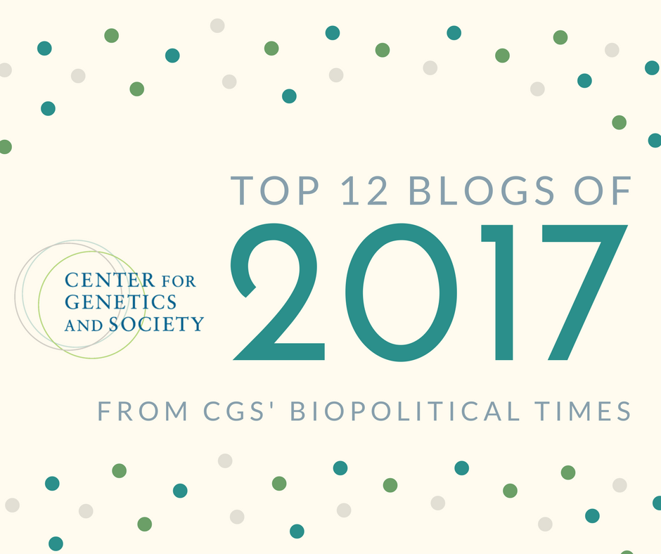 "Promotional header that reads ""Top 12 blogs of 2017 from CGS' Biopolitical Times"" in bold font. The CGS logo featuring three overlapping circles is pictured on the left."